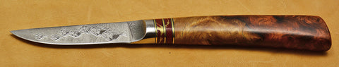 3 inch Paring Knife with 'School of Fish' Etching with Amboyna Burl Handle.
