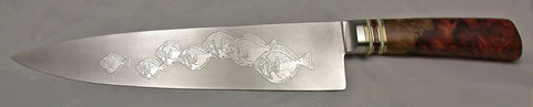 10 inch Chef's Knife with 'School of Fish' Etching.