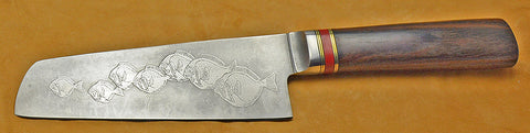 6 inch Chopper with 'School of Fish' Etching-2.