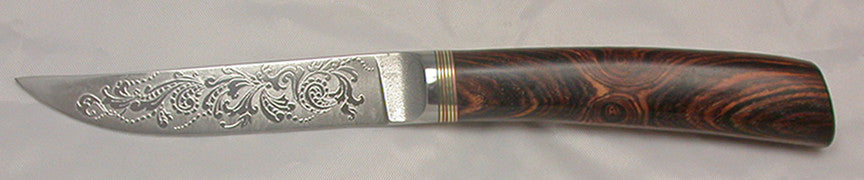 4.5 inch Kitchen Utility Knife with 'Scroll' Etching.