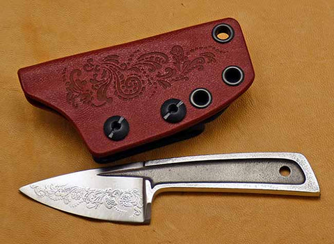 Boye Basic 1 with 'Scroll' Etching and Red Kydex Sheath with Laser Design.