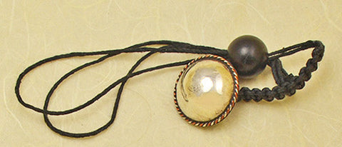 Black Waxed Hemp Macrame Lanyard with Antique Copper and Mexican Silver Domed Button.