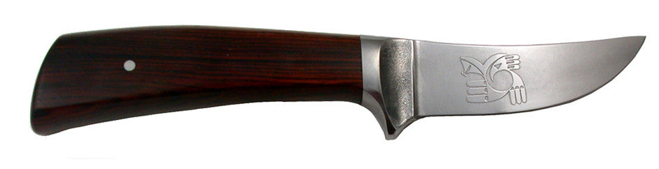 3 inch Trailing Point Skinner with 'Hawk Rainbird' Etching.