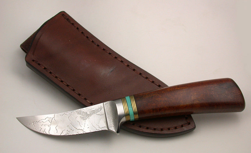 3 inch Trailing Point Skinner with 'Devil's Postpile' Etching.