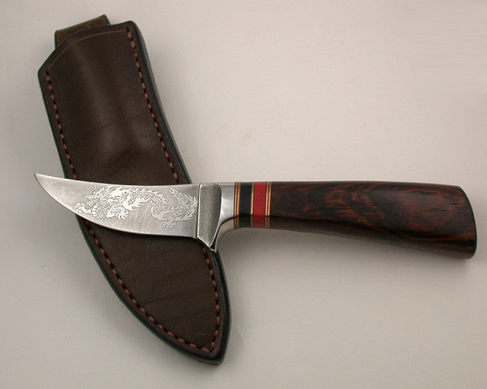 3 inch Trailing Point Skinner with 'Dragon' Etching.