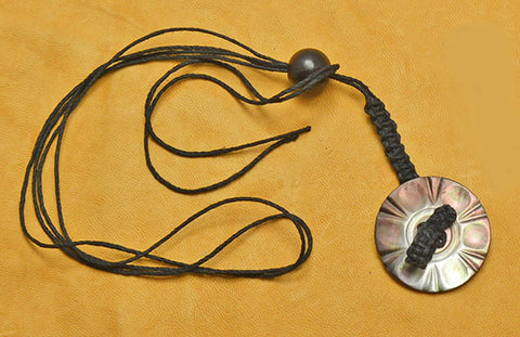 Black Hemp Macrame Lanyard with Carved Smokey Mother of Pearl Button.