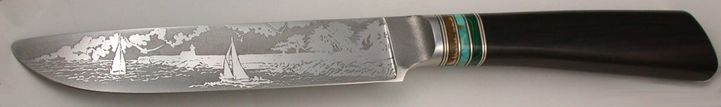 6.5 inch Sandwich Knife with 'Lighthouse with Sailboats' Etching.