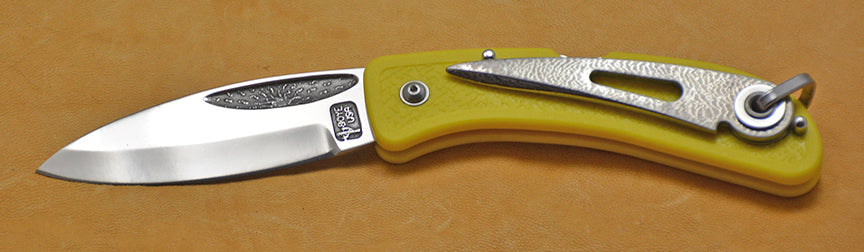 Boye Cobalt Sunburst Lockback Folding Pocket Knife with Yellow Handle and Marlin Spike.