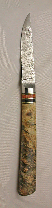 3 inch Paring Knife with 'Sunflower' Etching and Buckeye Burl Handle - 2.