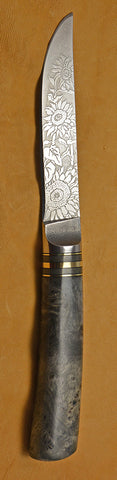 4.5 inch Kitchen Utility Knife with 'Sunflowers' Etching and Buckeye Burl Handle.