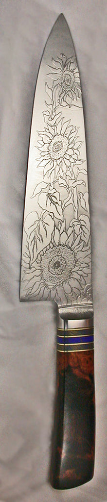 8 inch Chef's Knife with 'Sunflower' Etching - 2.