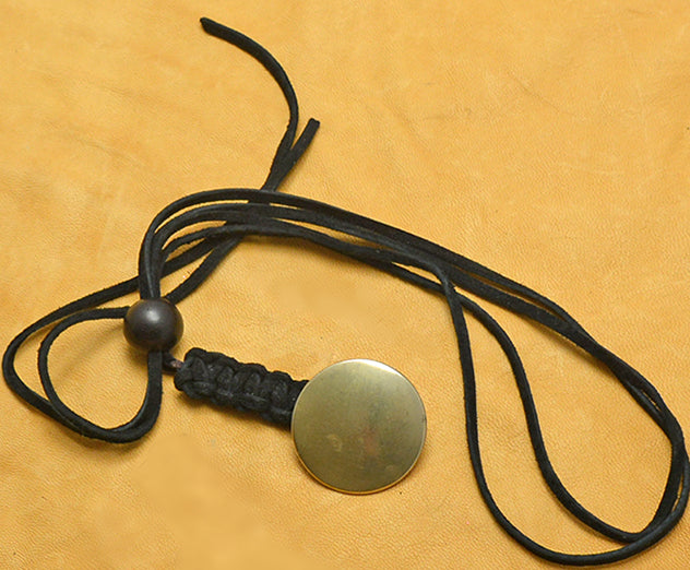Black Suede Lace Macrame Lanyard with Antique Tombac Button.