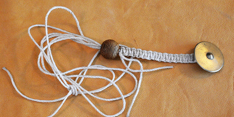 Waxed Bleached White Hemp Macrame Lanyard with Early 18th Century Tombac Shield Button.