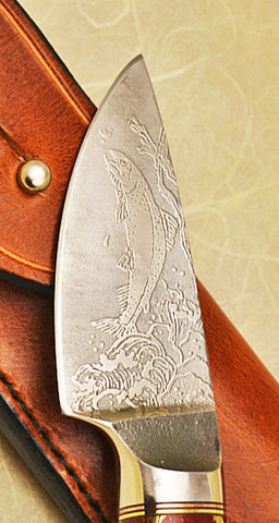 3 inch Dropped Edge Utility Knife with 'Trout' Etching.