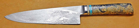 8 inch Chef's Knife with 'Tsunami' Etching.