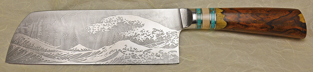 8 inch Light Chopper with 'Tsunami' Etching.