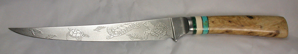 8 inch Filet Knife with 'Sea Turtles' Etching.