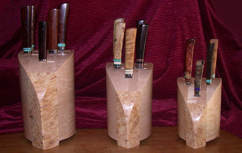 Custom Sculpted Modular Knife Blocks for 15 Piece Kitchen Cutlery Collection.