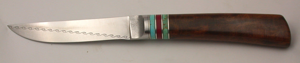 4.5 inch Kitchen Utility Knife with 'Wavy Rainbird' Etching.
