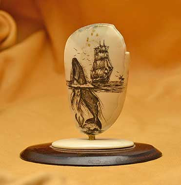 ADA Studio Cocobolo and Mammoth Stand with Fossil Walrus with Whale & Sailing Ship Scrimshaw