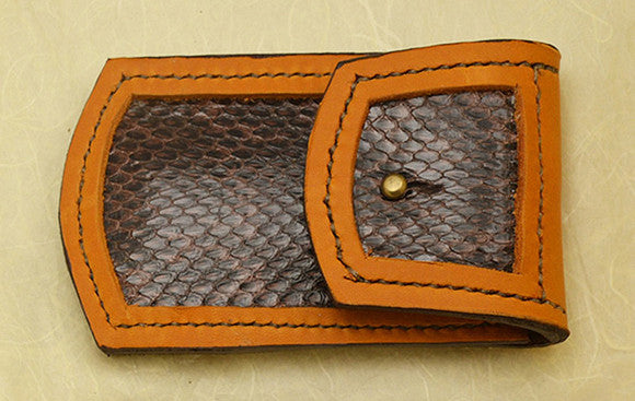 Leather Belt Sheath with Snakeskin Inlay for Wide-Blade Lockback Folding Pocket Knife.