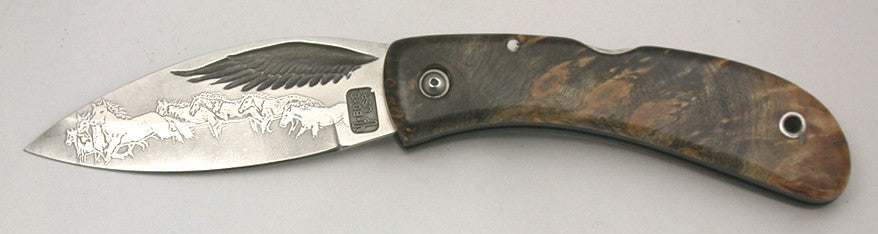 Boye Custom Eagle Wing Lockback Folding Pocket Knife with 'Mustangs' Etching.
