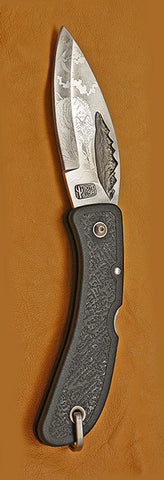 Boye Mountain Lockback Folding Pocket Knife with 'Wolf' Etching--Second.