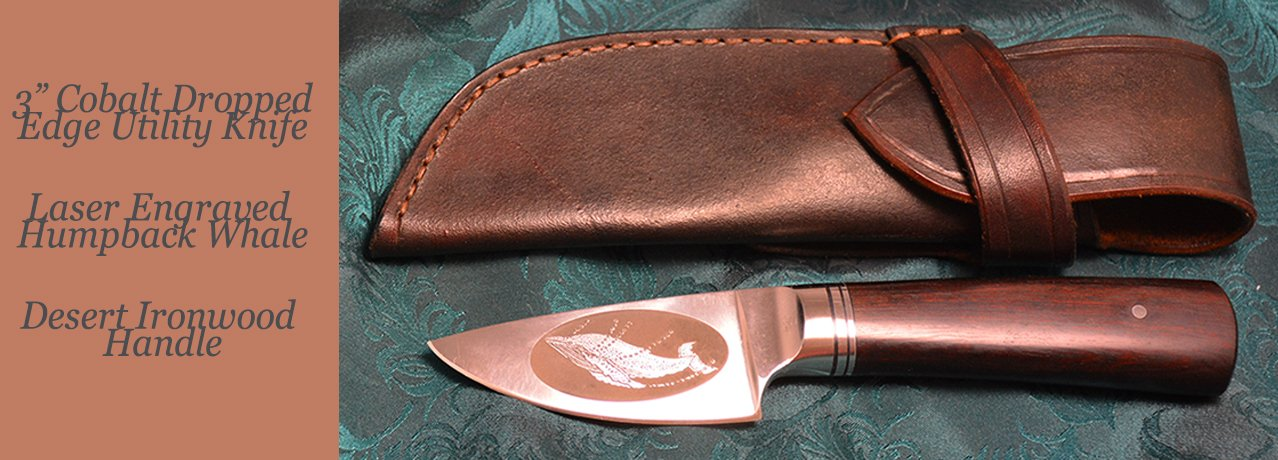 "3"" Paring Knife with Swans etching and Buckeye Burl handle"