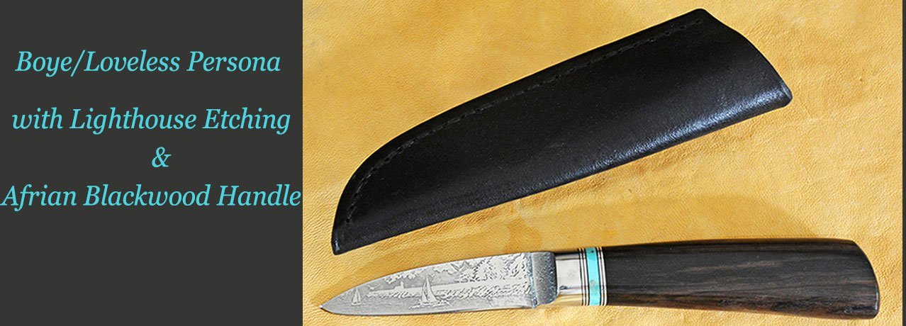 "8"" Carving Set with Ravens Etchings and Ironwood Burl Handles"
