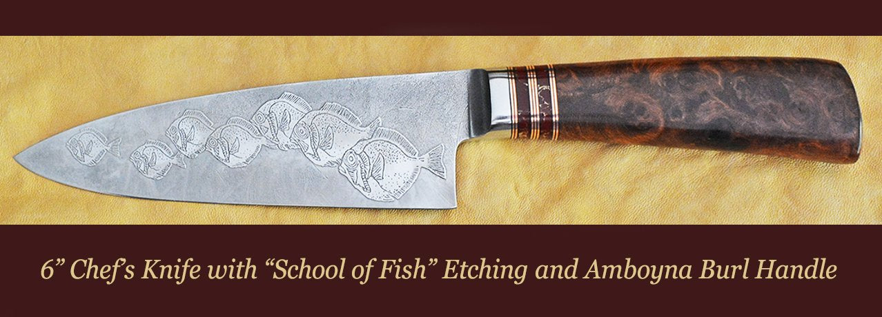 "8"" bread Knife with Elephants Etching and Buckeye Burl Handle"