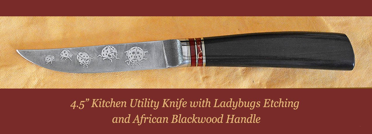 "4"" Hunter with ""Barn Owl in Flight"" etching and Ironwood handle"