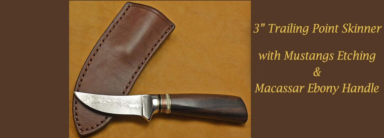 "3"" Trailing Point Skinner with Mustangs Etching and Macassar Ebony Handle."