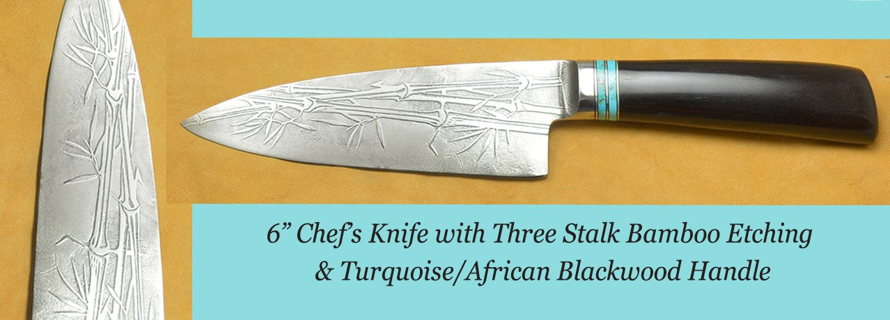 "6.5"" Sandwich Knife with Grapevine Etching and Amboyna Burl Handle"