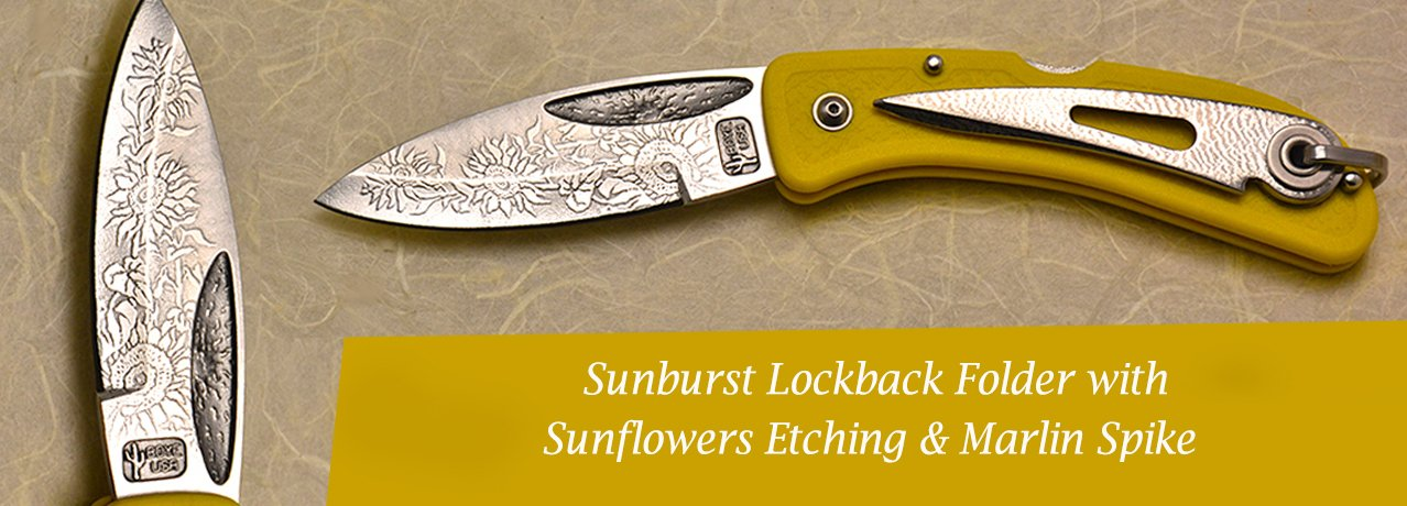 Sunburst Lockback Folder with Sunflowers Etching.