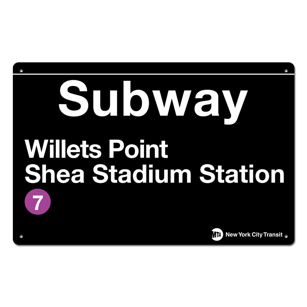 Willets Point - Shea Stadium Steel Subway Sign