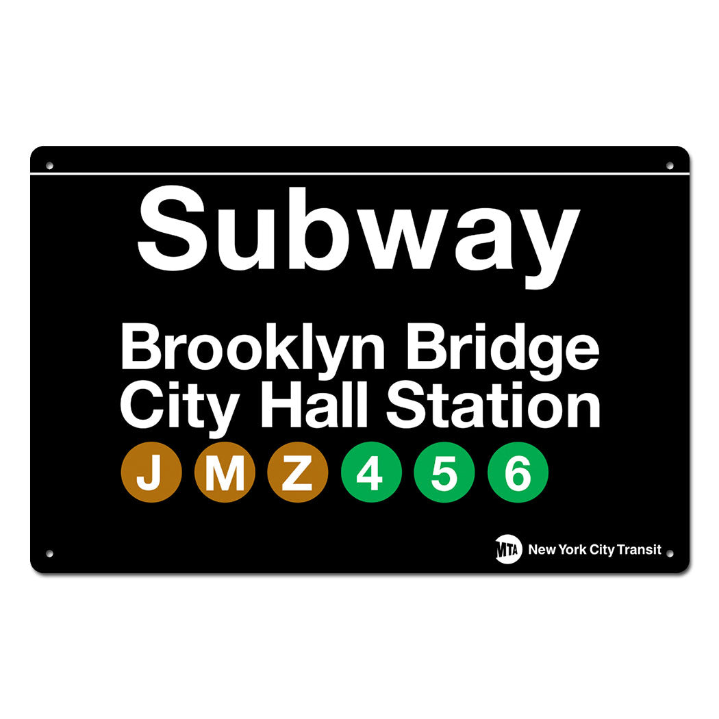 Brooklyn Bridge - City Hall Steel Subway Sign