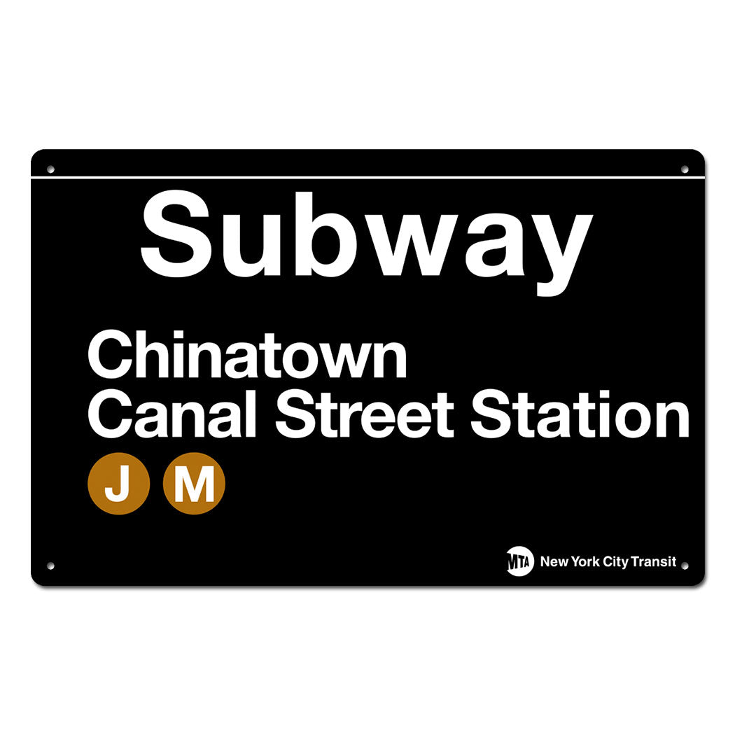 Chinatown - Canal Street Steel Subway Sign