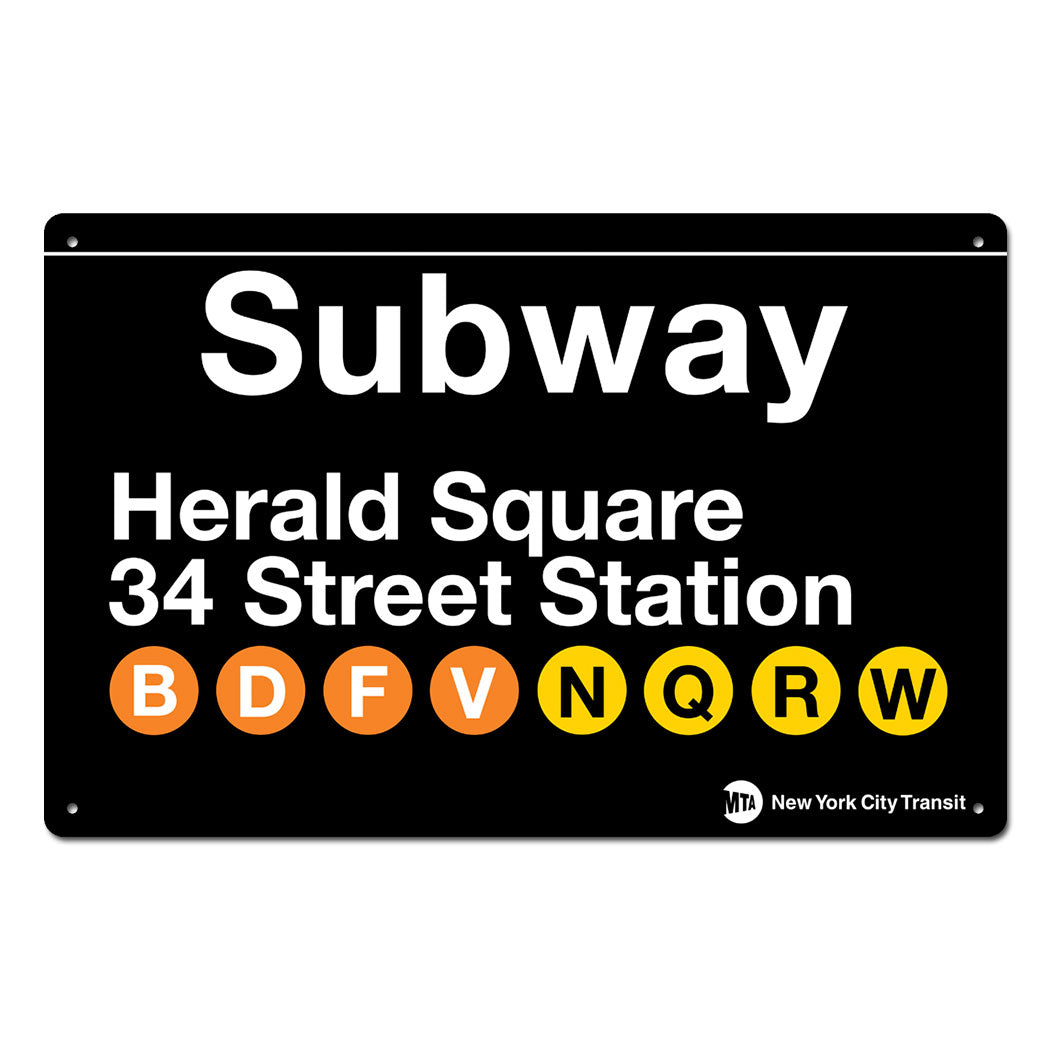 Herald Square - 34 Street Steel Subway Sign
