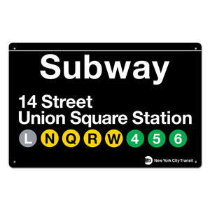 14 Street - Union Square Steel Subway Sign
