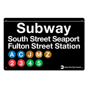 South Street Seaport - Fulton Street Steel Subway Sign