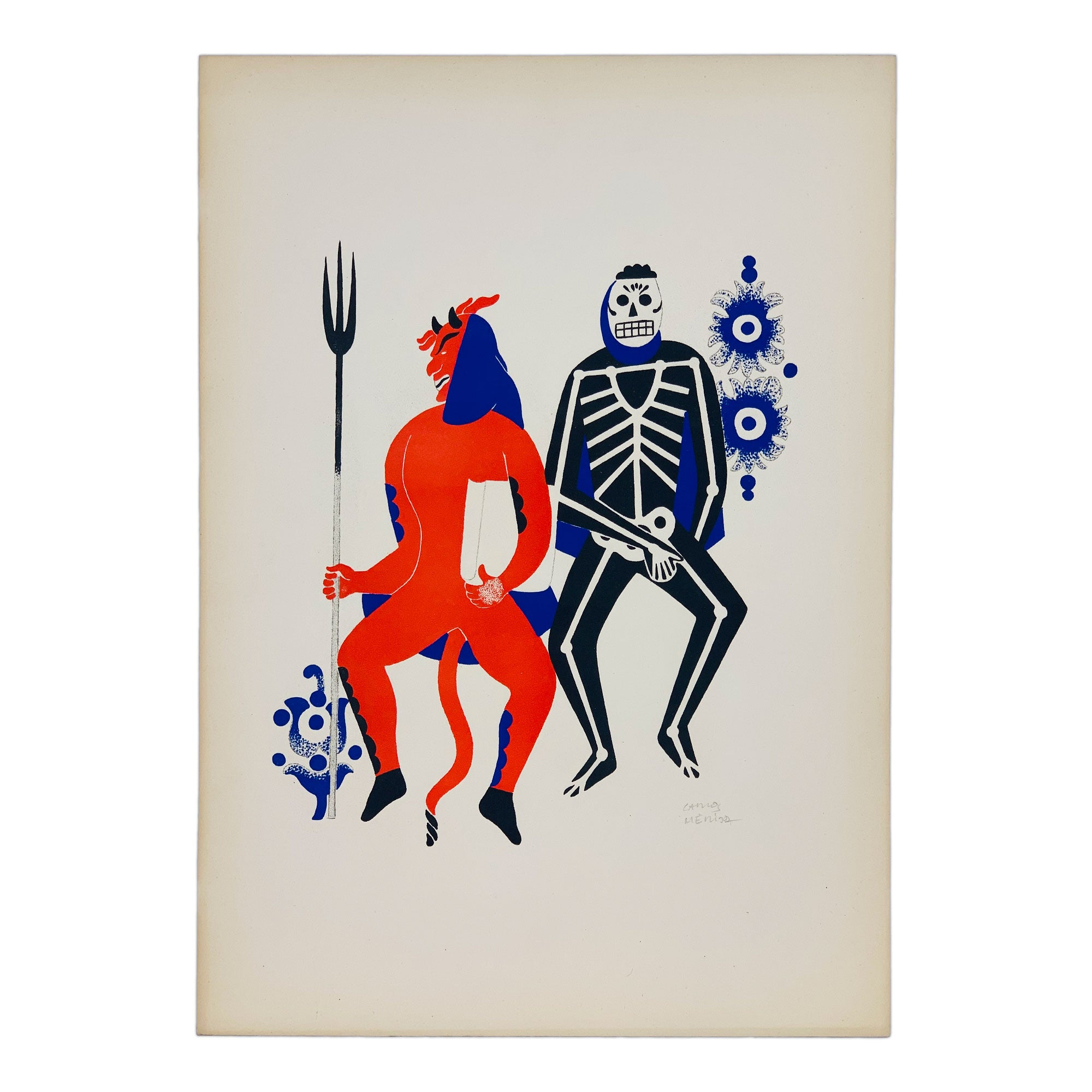 Carlos Mérida - Two dancing men in costume from Huixquilucan Lithograph