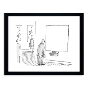 Stevens - A man in an art gallery stands in front of a blank canvas 11x14 Framed Print