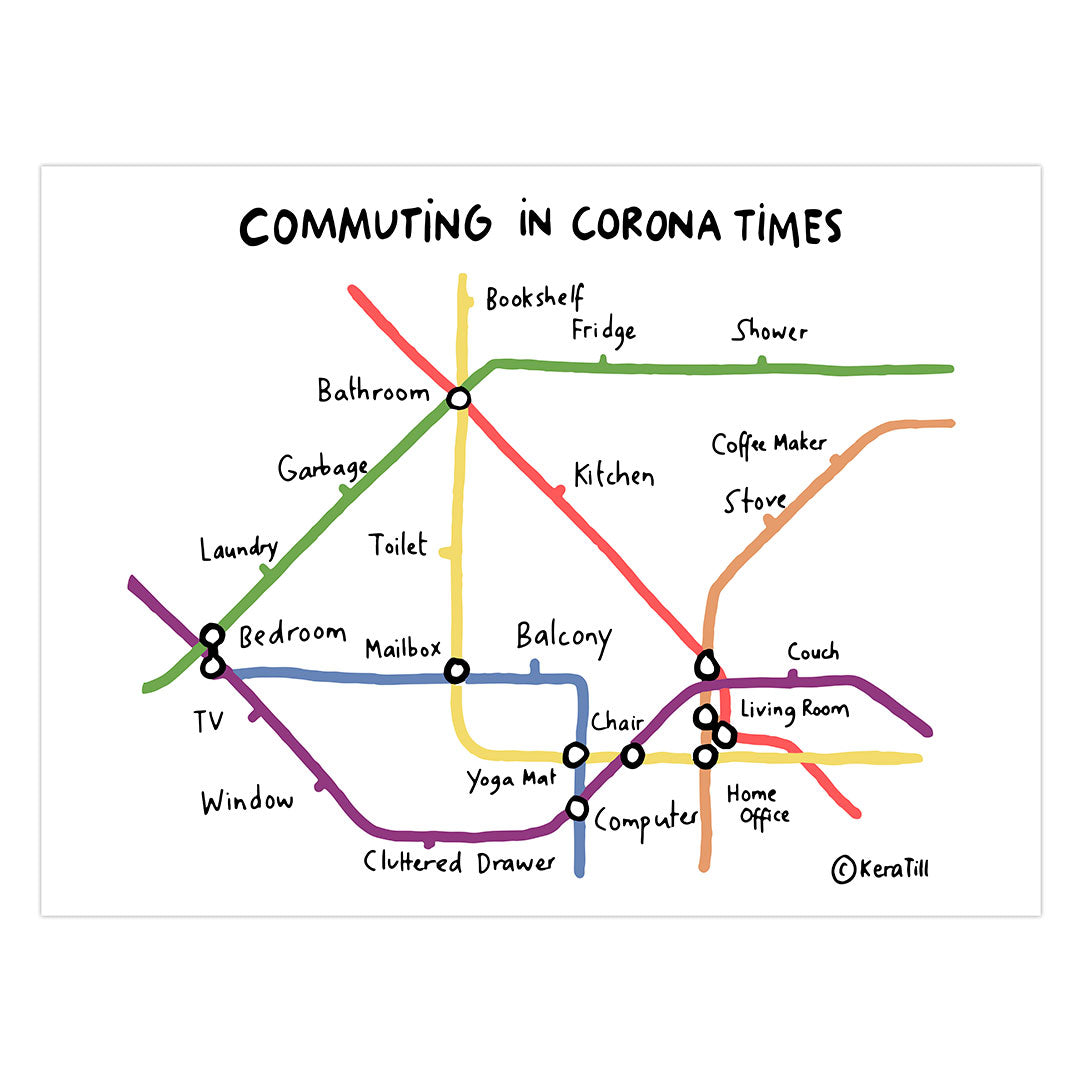 Commuting in Corona Times 18x24 Giclée Print