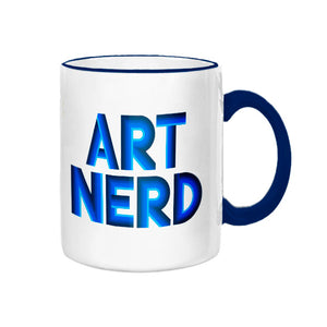 Art Nerd Blue Rim and Handle Mug