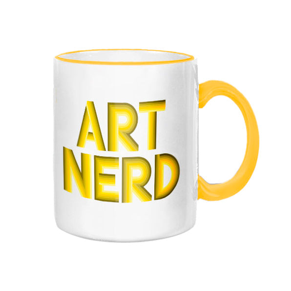 Art Nerd Yellow Rim and Handle Mug