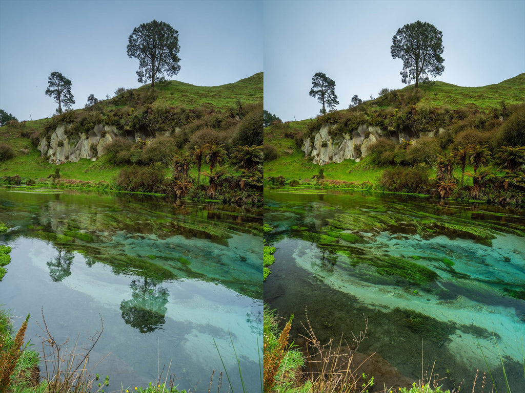 polariser before and after