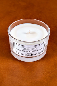 Cranberry & Cinnamon scented soy wax candle