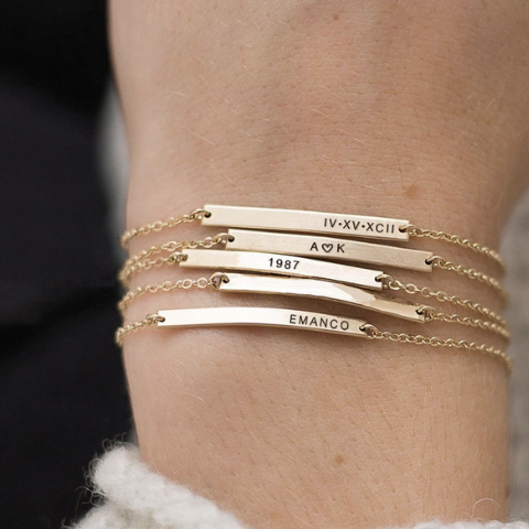 gold bar bracelet layered set