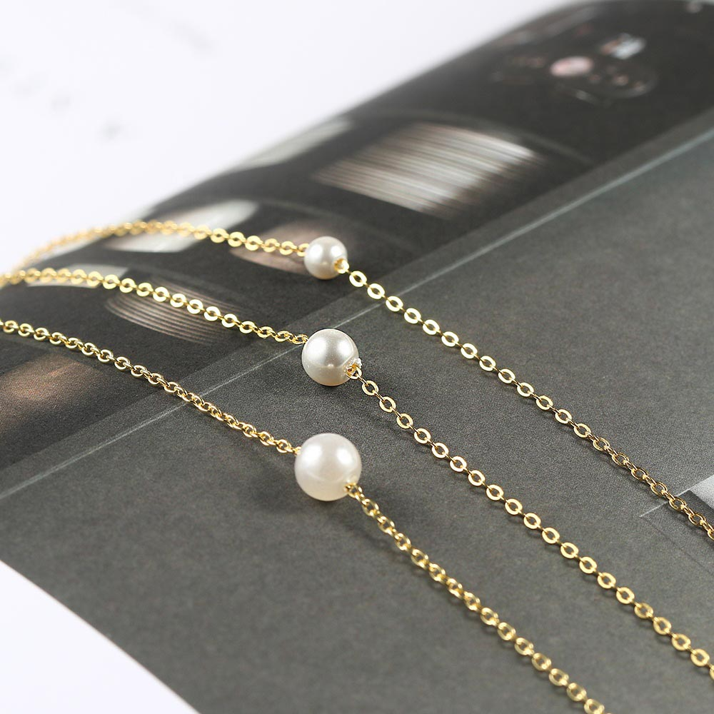 SINGLE PEARL NECKLACE AND BRACELET SET