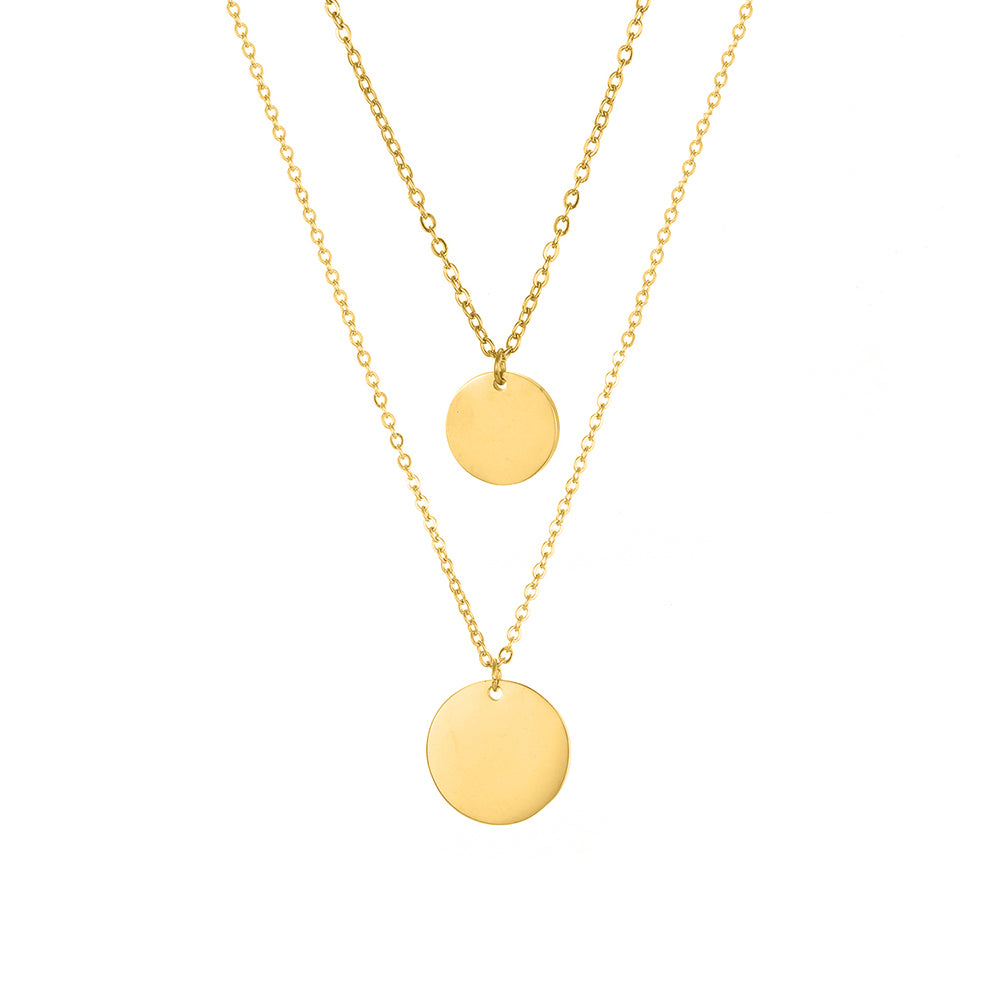 DOUBLE DISC LAYERED NECKLACE SET
